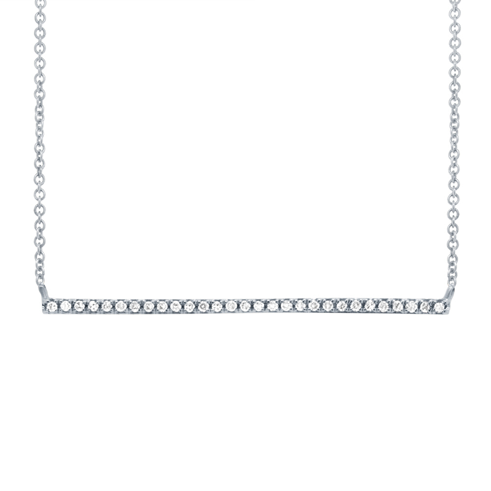 White 14 Karat Necklace With 08tw Pave Diamond Bar Pendant 001 165 00459 Necklaces From Moore Jewelers Laredo Tx