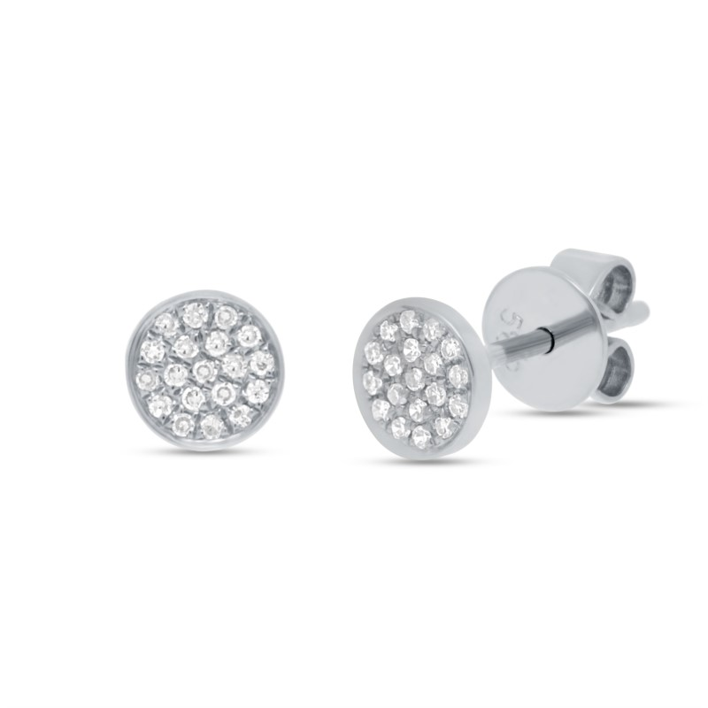 White 14 Karat Pave Stud Earrings by Shy Creation