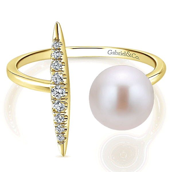 14 Karat Contemporary Pearl Ring by Gabriel & Co